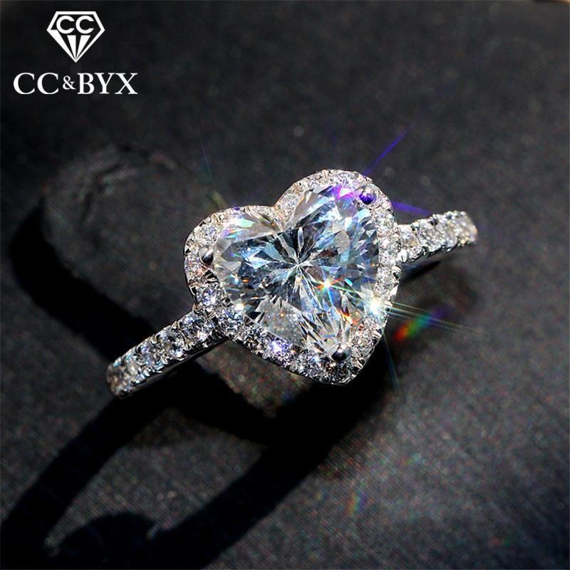 AliExpress CC serce pierścionki dla kobiet S925 srebrne wesele zaręczyny biżuteria dla nowożeńców cyrkonia