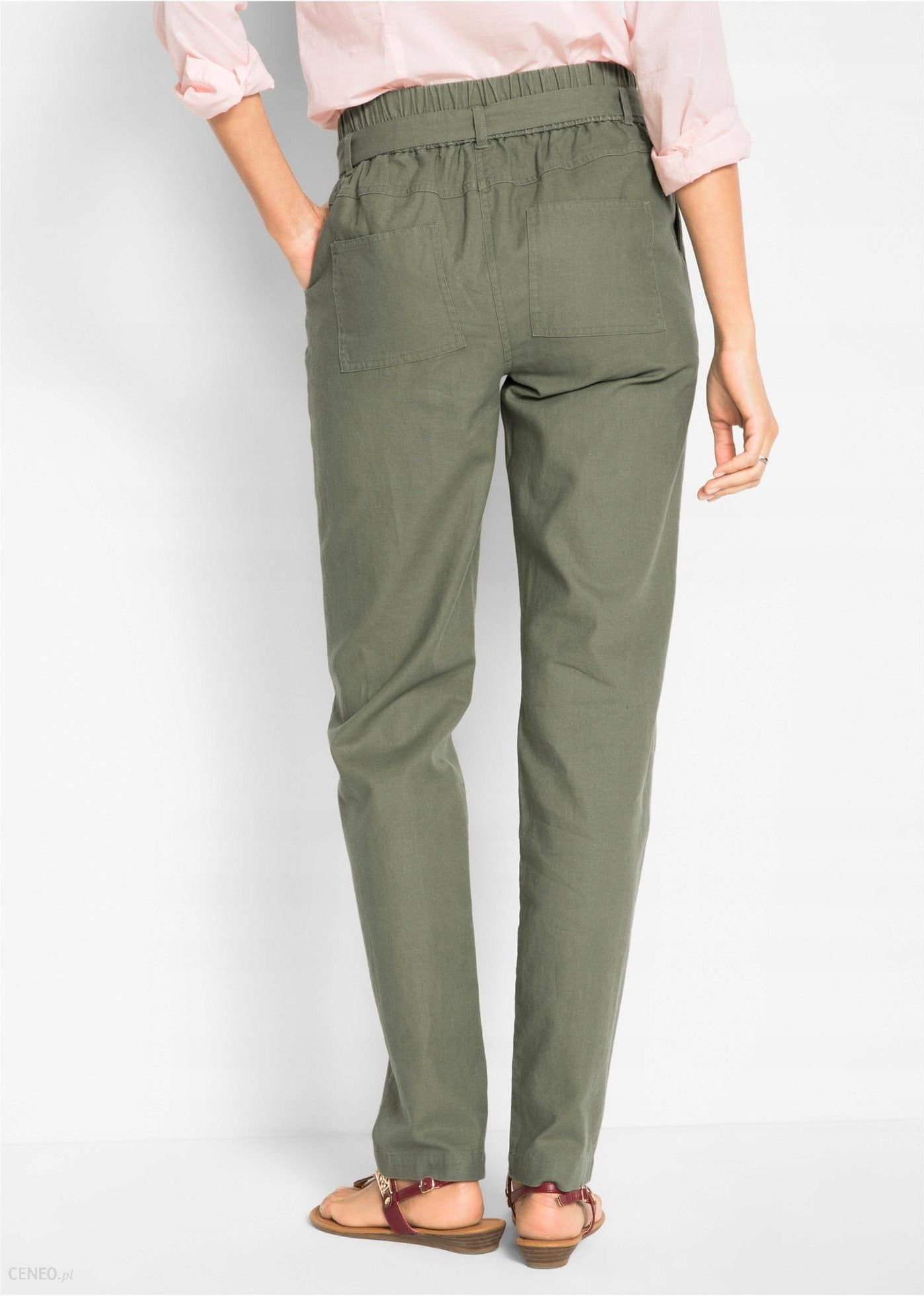 męskie lniane spodnie ze ściągaczem