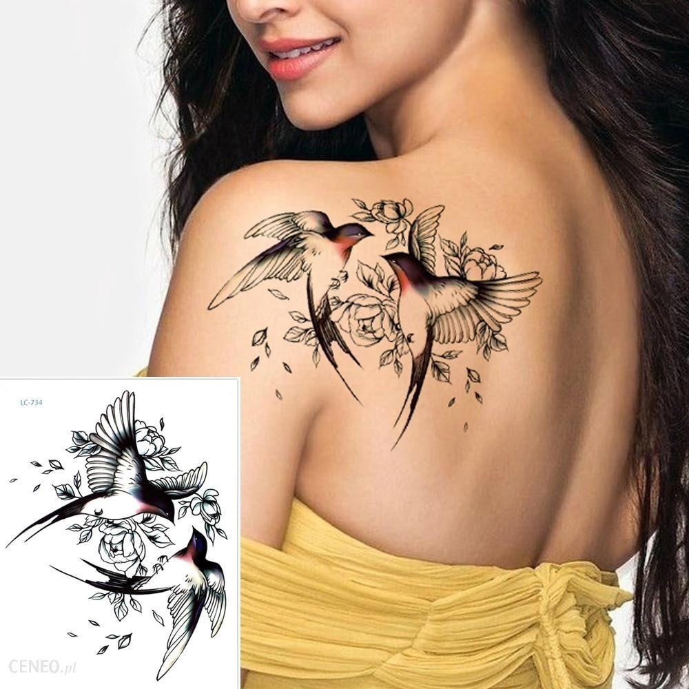 Aliexpress Duze Kwiatowe Tatuaz Na Ramie Tymczasowa Naklejka Tatuaz Wrobel Sroka Sztuczny Tatuaz Rekaw Flash Ceneo Pl