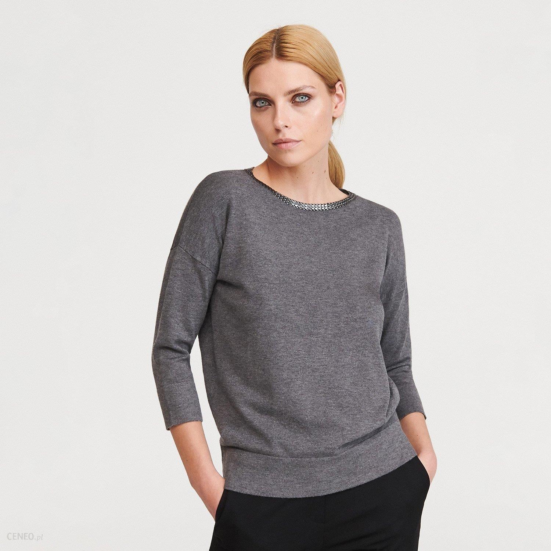 Reserved Sweter z dekoltem w łódkę Jasny szary Ceny i opinie Ceneo.pl