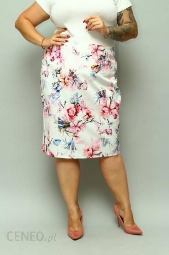Ołówkowa spódnica w kwiaty ecru