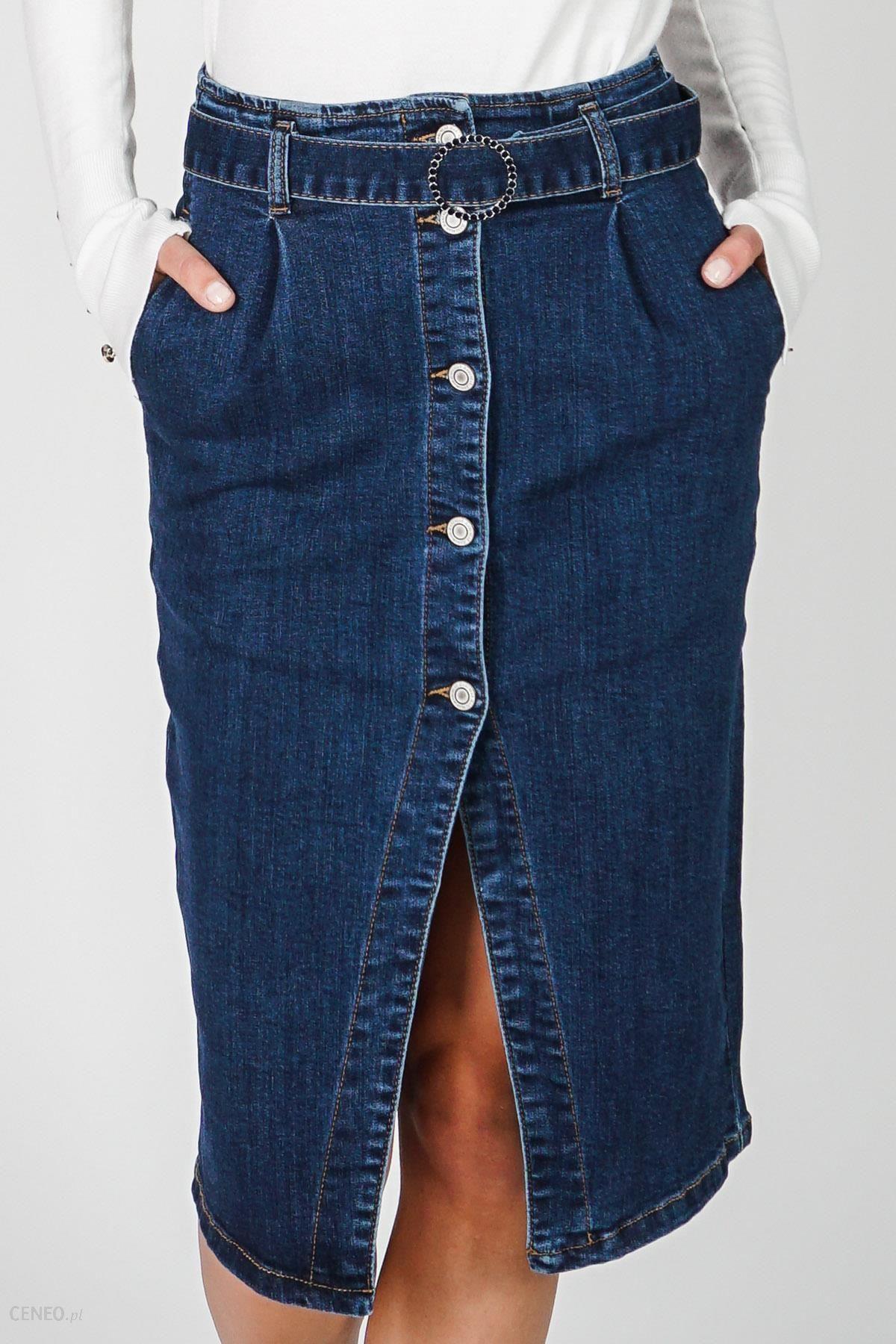 Niebieska jeansowa spódnica ołówkowa New Stone Ceny i opinie Ceneo.pl