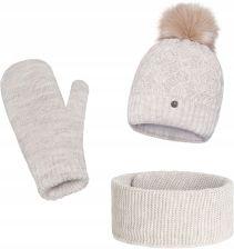 Komplet PaMaMi, czapka, komin i rękawiczki Beż Ceny i