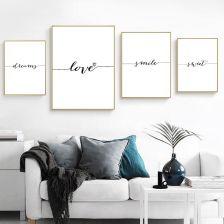 Aliexpress Miłość Uśmiech Sen Słodkie Cytaty Płótno Plakat I Druki Malarstwo Wall Art Styl Skandynawski Ceneopl