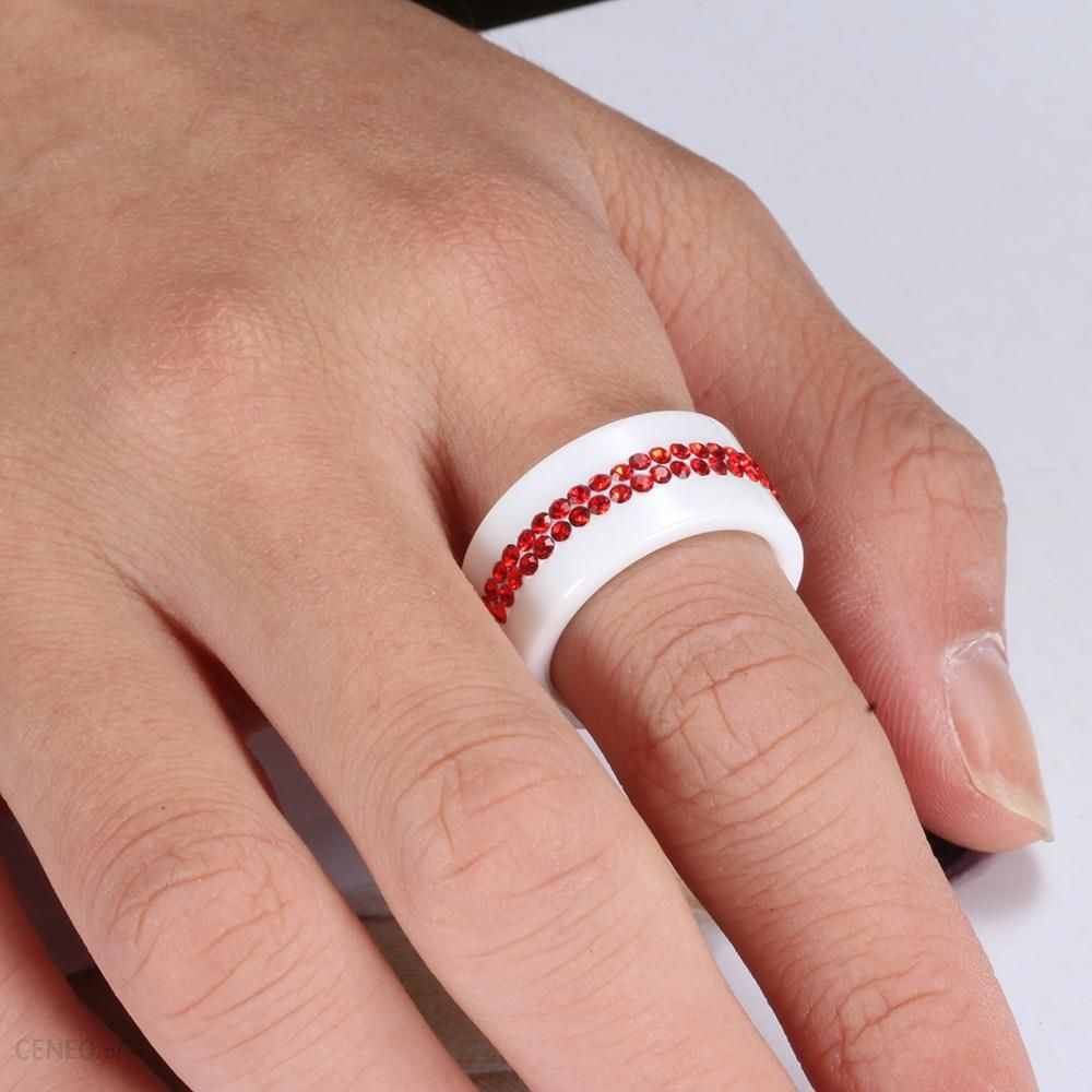 Aliexpress Nowy 10mm Czarny I Biały 2 Wiersz Kryształowa Ceramiczna Pierścienie Kobiety Obietnica Zaręczynowy