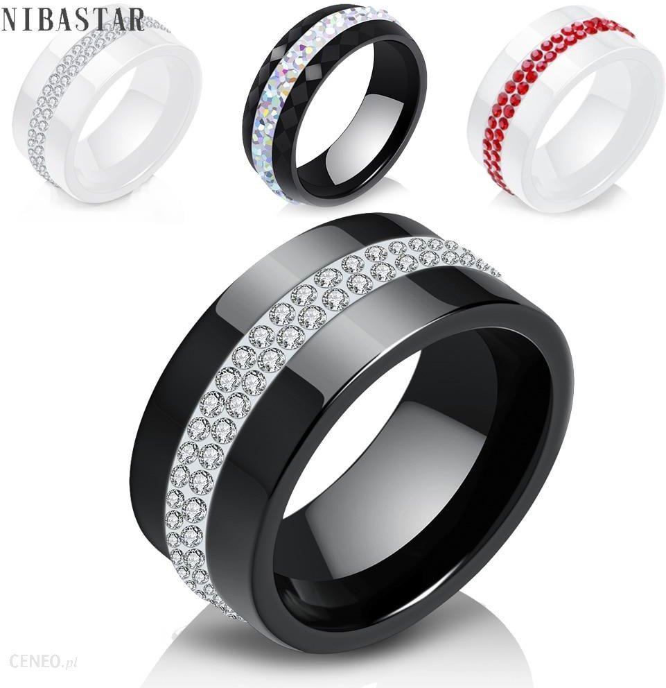 Aliexpress Nowy 10mm Czarny I Biały 2 Wiersz Kryształowa Ceramiczna Pierścienie Kobiety Obietnica Zaręczynowy Ceneopl