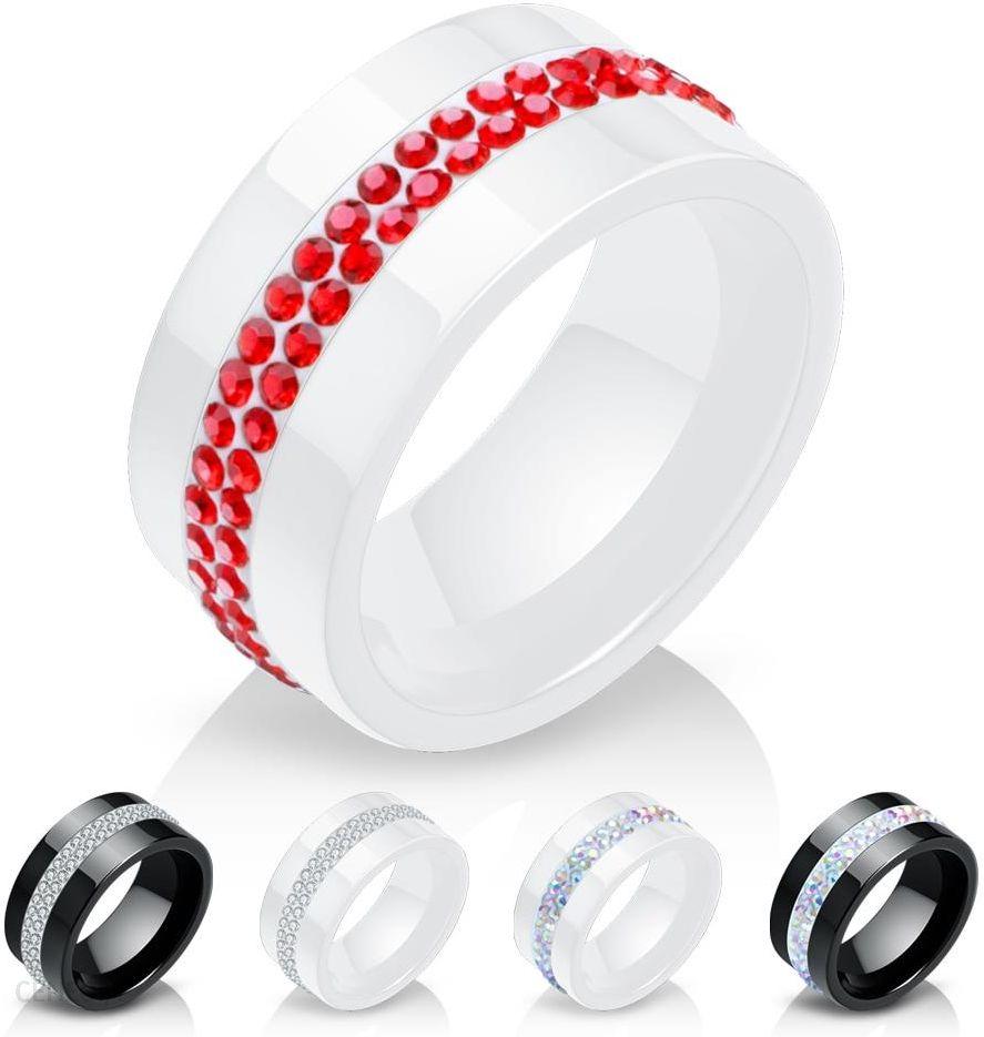Aliexpress Nowy 10mm Czarny I Biały 2 Wiersz Kryształowa Ceramiczna Pierścień Kobiety Pierścionek Zaręczynowy Ceneopl