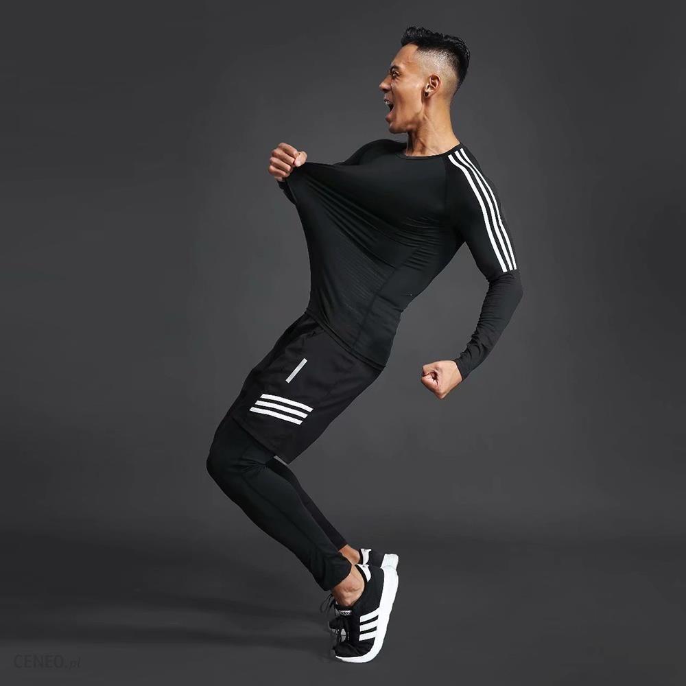 AliExpress Szybkoschnący kompresyjny męski sportowy strój treningowy męski siłownia jogging dres biegowy męskie Ceneo.pl