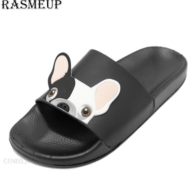 AliExpress RASMEUP skórzane klapki damskie 2018 letnie kobiety z wystającym palcem kapcie plażowe Bulldog buty Ceneo.pl
