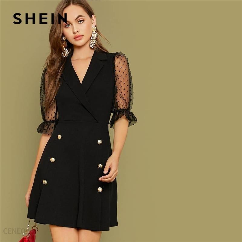 AliExpress SHEIN czarny na najwyższym poziomie kołnierz podwójne przycisk przodu biuro sukienka kobiety 2019 Ceneo.pl