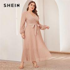 AliExpress SHEIN Plus rozmiar komża dekolt latarnia rękaw plisowana brokat sukienka w dużym rozmiarze kobiety Ceneo.pl
