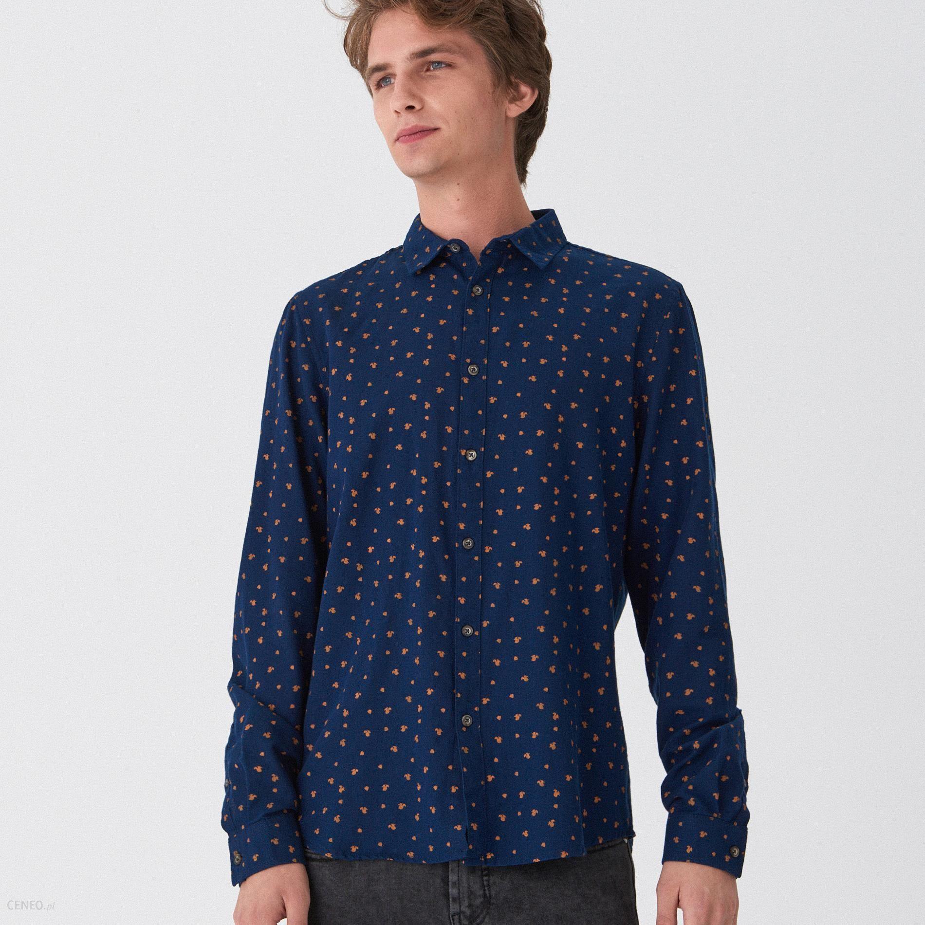 House Koszula w drobny wzór Granatowy Ceny i opinie  X9Ue3