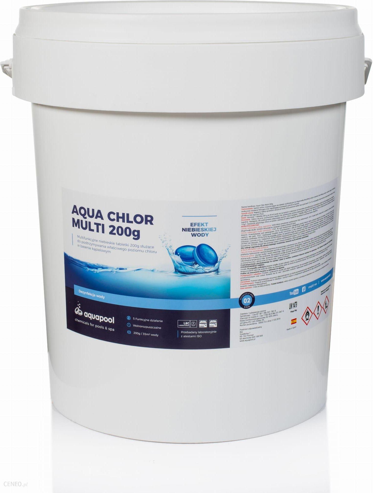Aquapool Chlor Do Basenu Tabletki Blue 200g Niebieska Woda 25kg