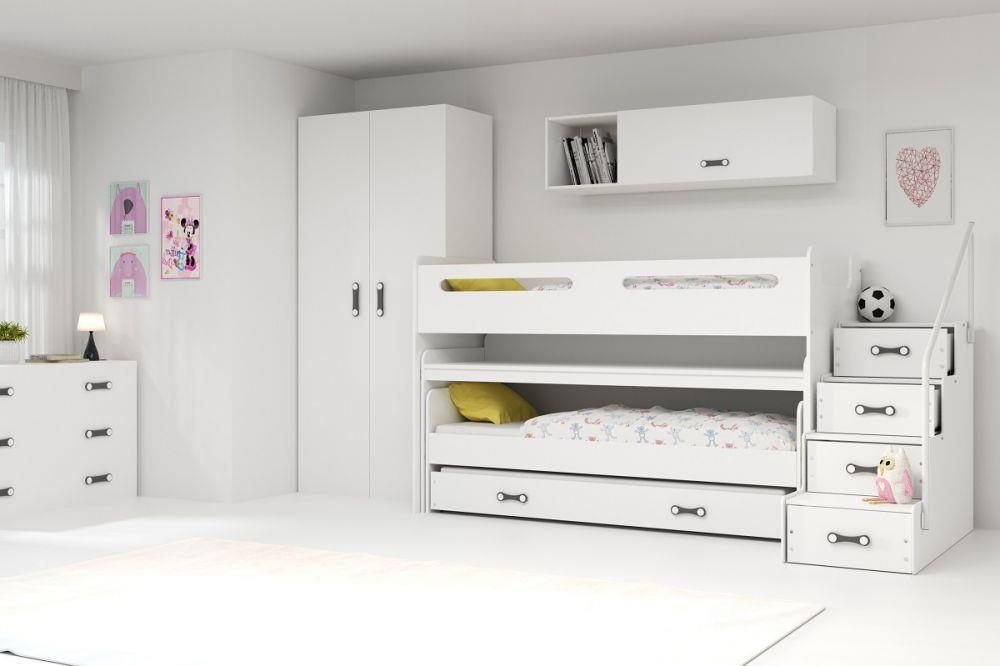 meble dla dzieci bms Łóżko piętrowe max 1 2 osobowe z biurkiem 200x80 - bms