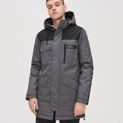 Cropp Pikowana kurtka z nadrukiem Szary Ceny i opinie