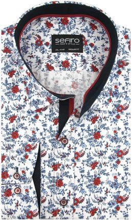 Duża Koszula Męska Sefiro biała w kwiatki na spinki lub