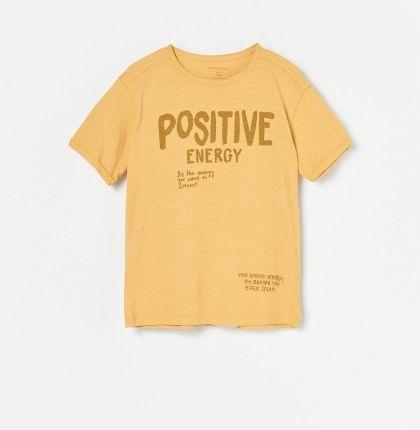 Reserved T shirt z nadrukiem w palmy Żółty Ceny i