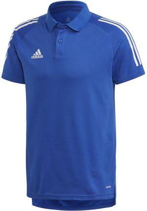 Koszulka męska adidas Condivo 20 Polo niebiesko-biała ED9237 - Ceny i opinie T-shirty i koszulki męskie WGPJ