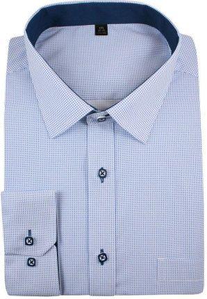 Koszula męska Wólczanka niebieska bawełniana z długim