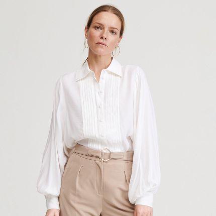 Reserved Koszula z ozdobnymi guzikami Biały Ceny i  WtKOP