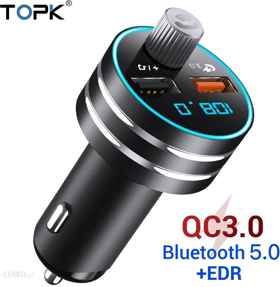 AliExpress Å adowarka samochodowa USB TOPK szybkie ładowanie 3.0 podwójna ładowarka samochodowa USB z Bluetooth Ceneo.pl