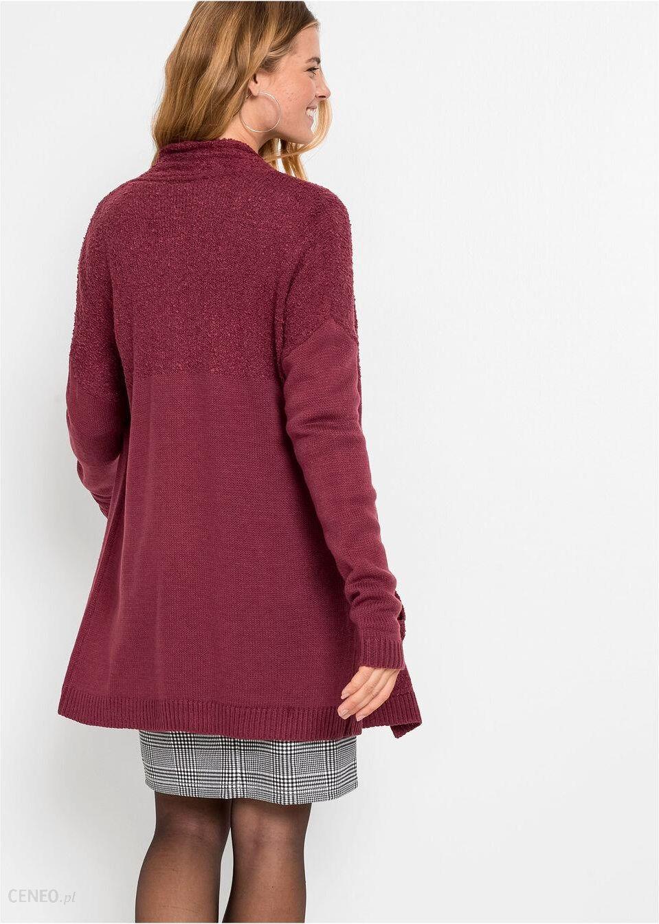 bonprix Sweter bez zapięcia z kieszeniami, długi rękaw