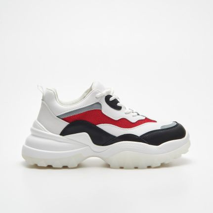 Chunky sneakers z kontrastowymi detalami Cropp Sneakersy damskie czarne w Cropp