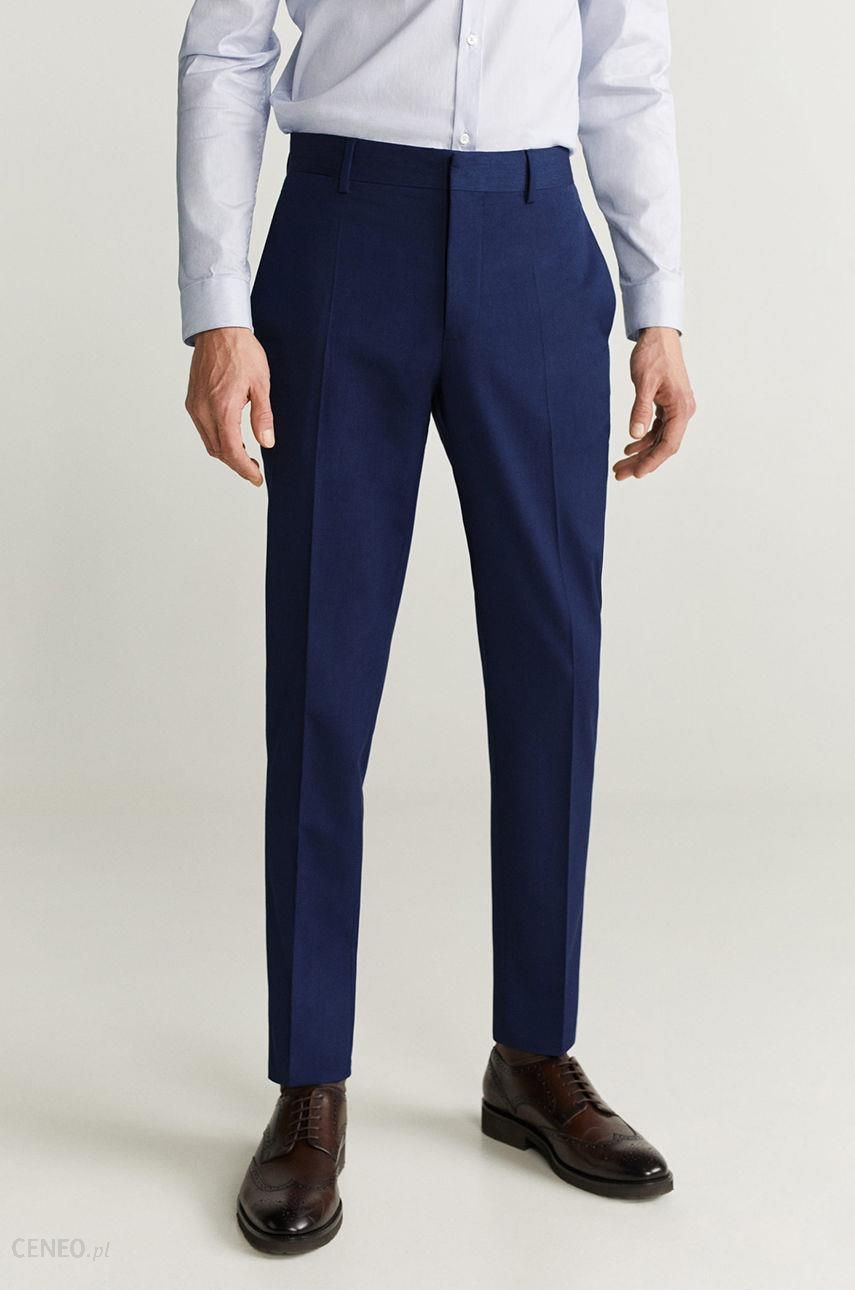 Mango Man Spodnie Paulo Spodnie męskie niebieskie