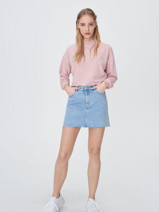 Sinsay Jeansowa spódnica z paskiem Niebieski Ceny i