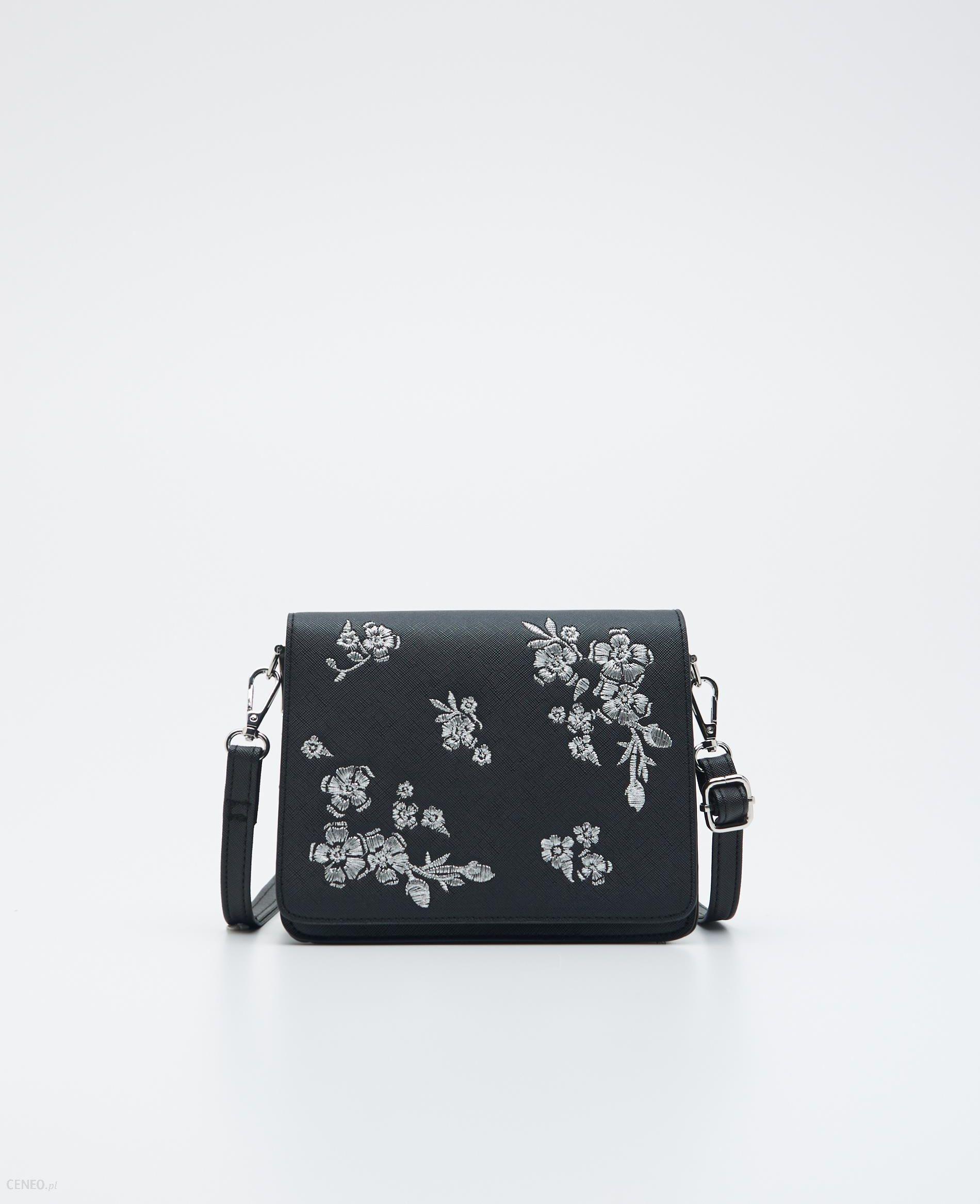 Sinsay Torebka z kwiatowym haftem Czarny