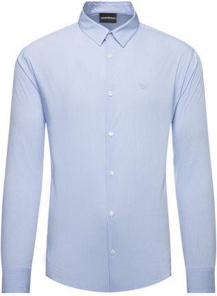 Biała koszula męska we wzory z długim rękawem (dx1390  WljC3