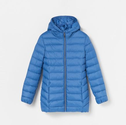 Reserved Pikowana kurtka z kapturem Niebieski Ceny i