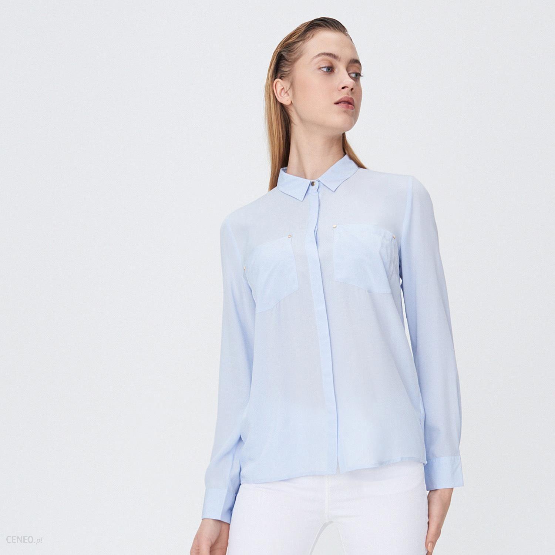 Sinsay Klasyczna koszula z wiskozy Niebieski Ceny i  V5flr