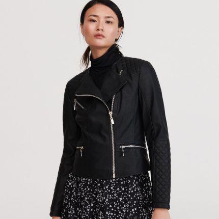 Ciepły czarny elegancki płaszcz na wzór ramoneski zamki Reserved 34