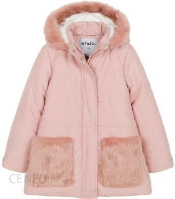 Zimowa kurtka dla dziewczynki 9 13 lat, długa, różowa, z futrzanymi kieszeniami