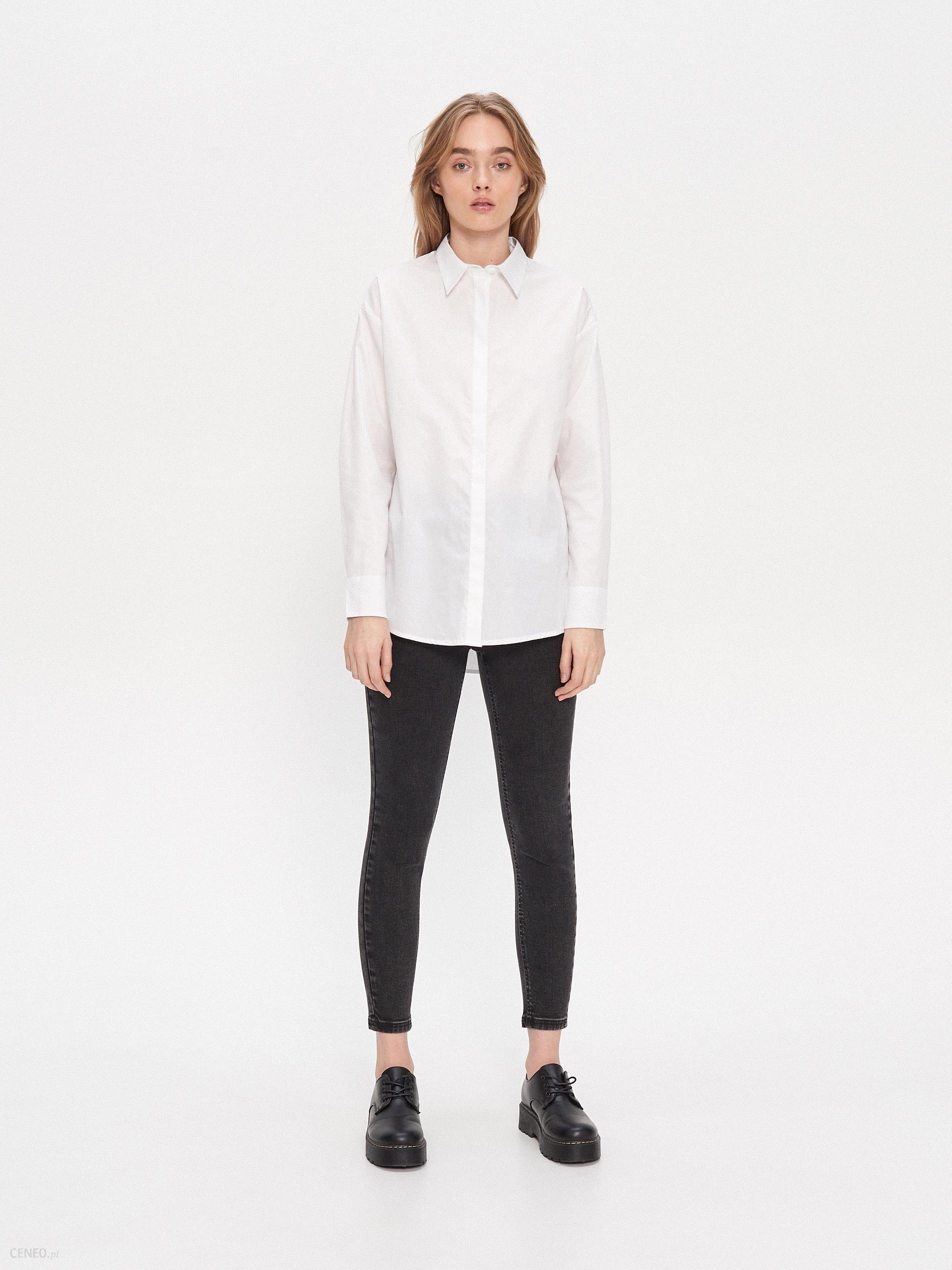 House Gładka koszula oversize Biały Ceny i opinie  nOdcb