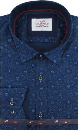 Koszula Męska Viadi Polo granatowa wzór ornament z długim