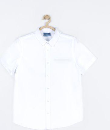 białe koszule z kołnierzykiem-krutki rekaw 128
