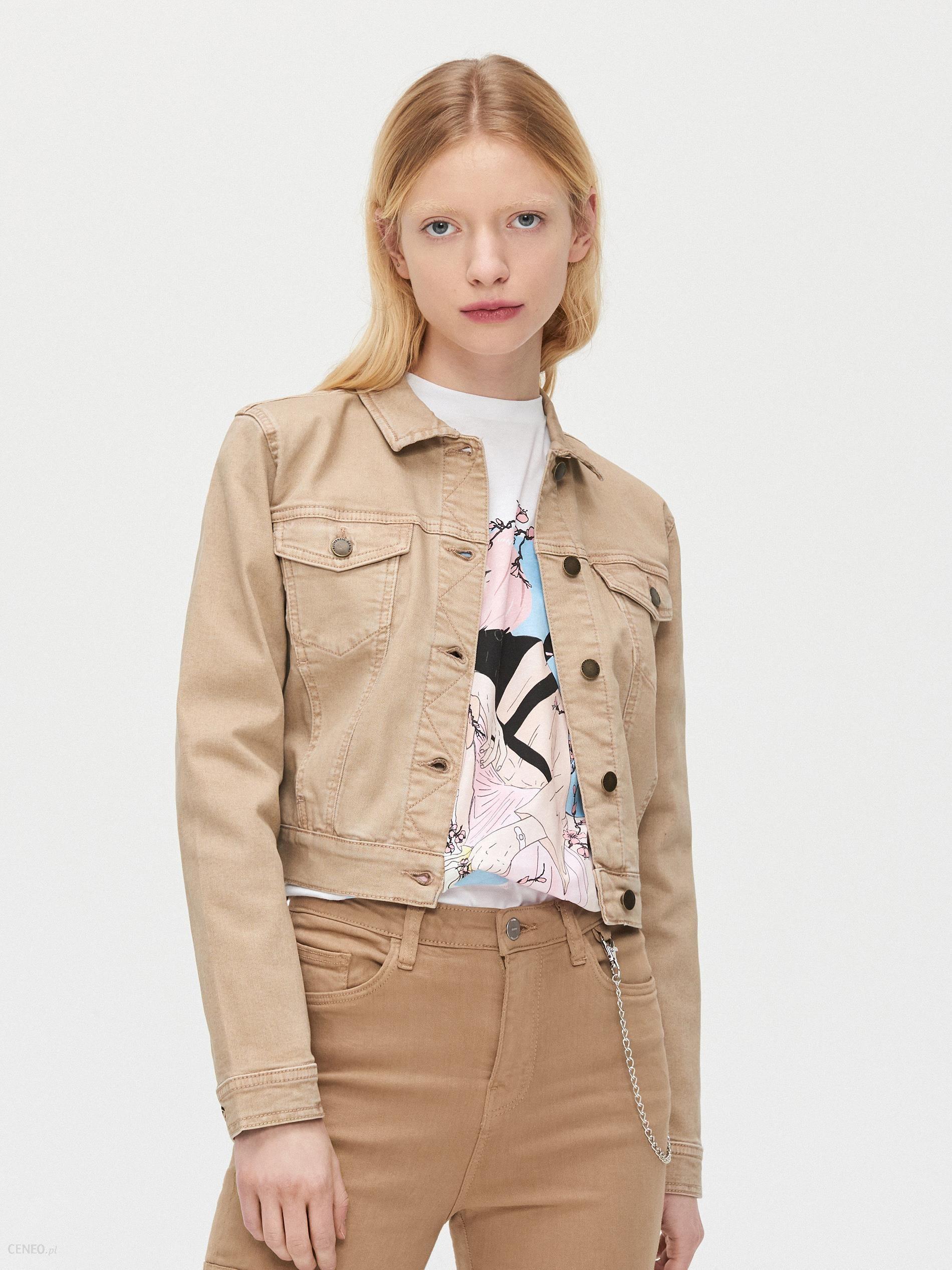 Cropp Krótka jeansowa kurtka Beżowy