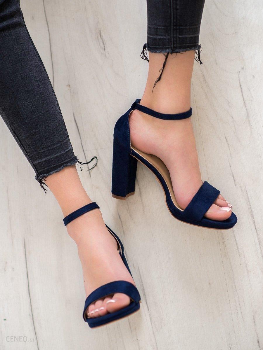 Zamszowe sandały damskie na słupku Goodin niebieskie