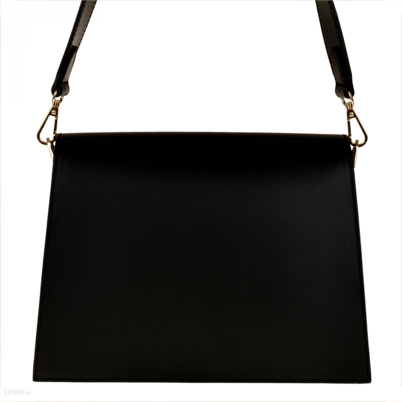 Włoska elegancka czarna torebka listonoszka szeroki pasek skóra