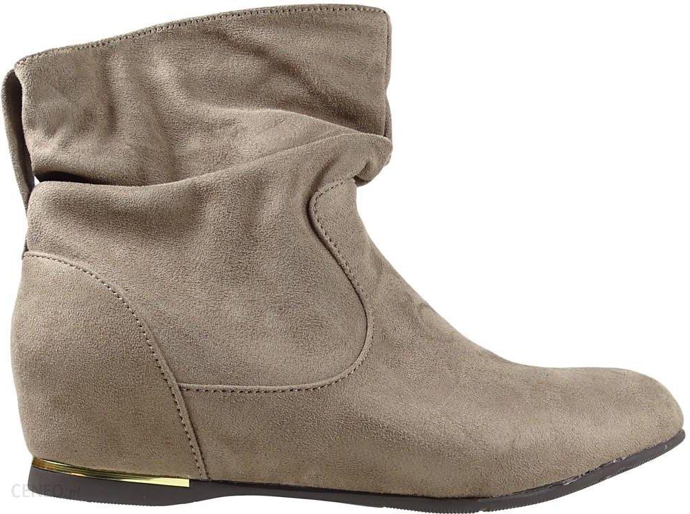 buty zimowe damskie za kostkę beżowe