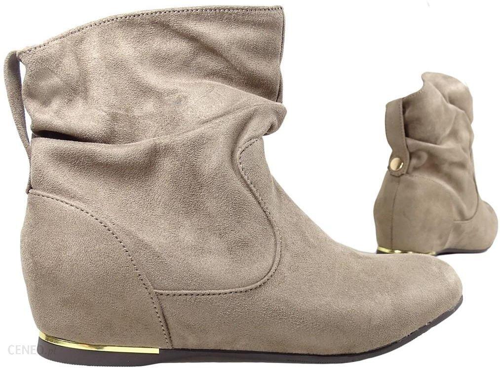 KOKIETKI Płaskie buty botki damskie za kostkę beżowe Ceny