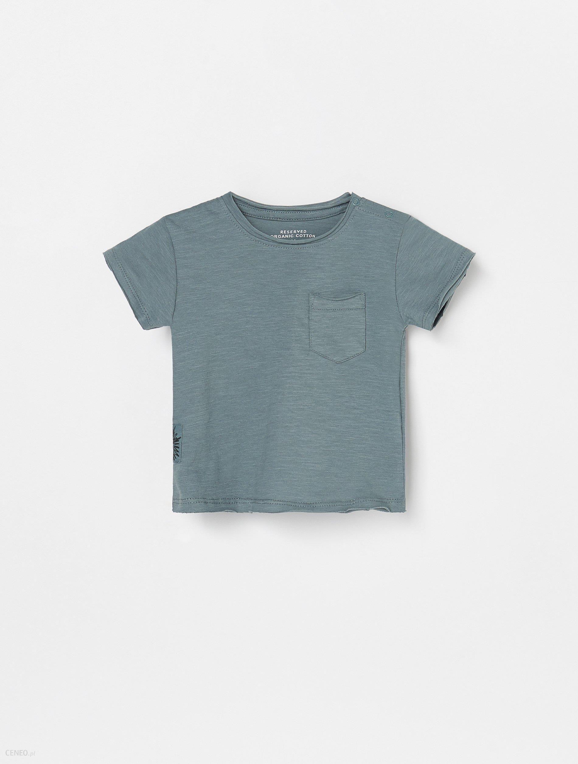 Reserved Bawełniany t shirt z kieszonką Turkusowy