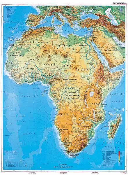 Pomoc Dydaktyczna Afryka Mapa Fizyczna J Francuski Stiefel