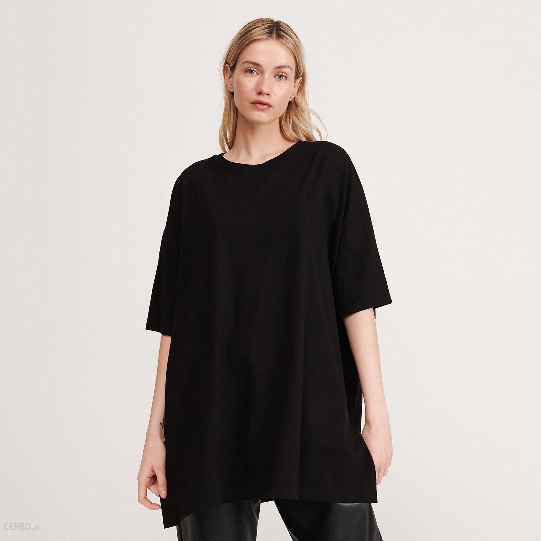 Reserved T shirt oversize z bawełny organicznej Czarny Ceny i opinie Ceneo.pl