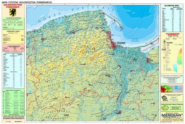 Pomoc Dydaktyczna Wojewodztwo Pomorskie Mapa Fizyczna Meridian
