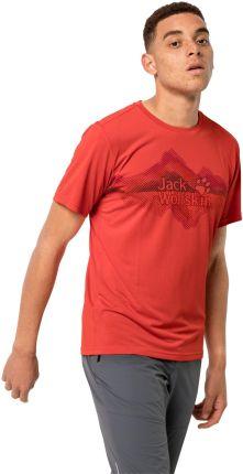 Jack Wolfskin T-shirt męski CROSSTRAIL GRAPHIC T M lava red - Ceny i opinie T-shirty i koszulki męskie KTAP