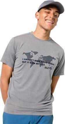 Jack Wolfskin T-shirt męski JWP WORLD T M slate grey - Ceny i opinie T-shirty i koszulki męskie XUIU