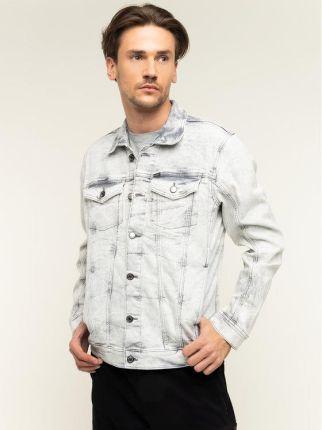 Szara męska katana kurtka jeansowa przetarciami S